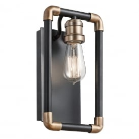 Imahn Industrial Wall Light In Black And Natural Brass KL/IMAHN1