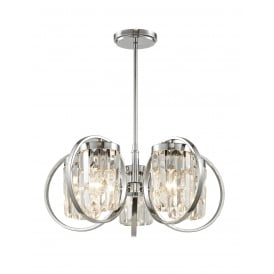 Impex CF1703/05/CH Talin Five Light Ceiling Pendant Light In Chrome