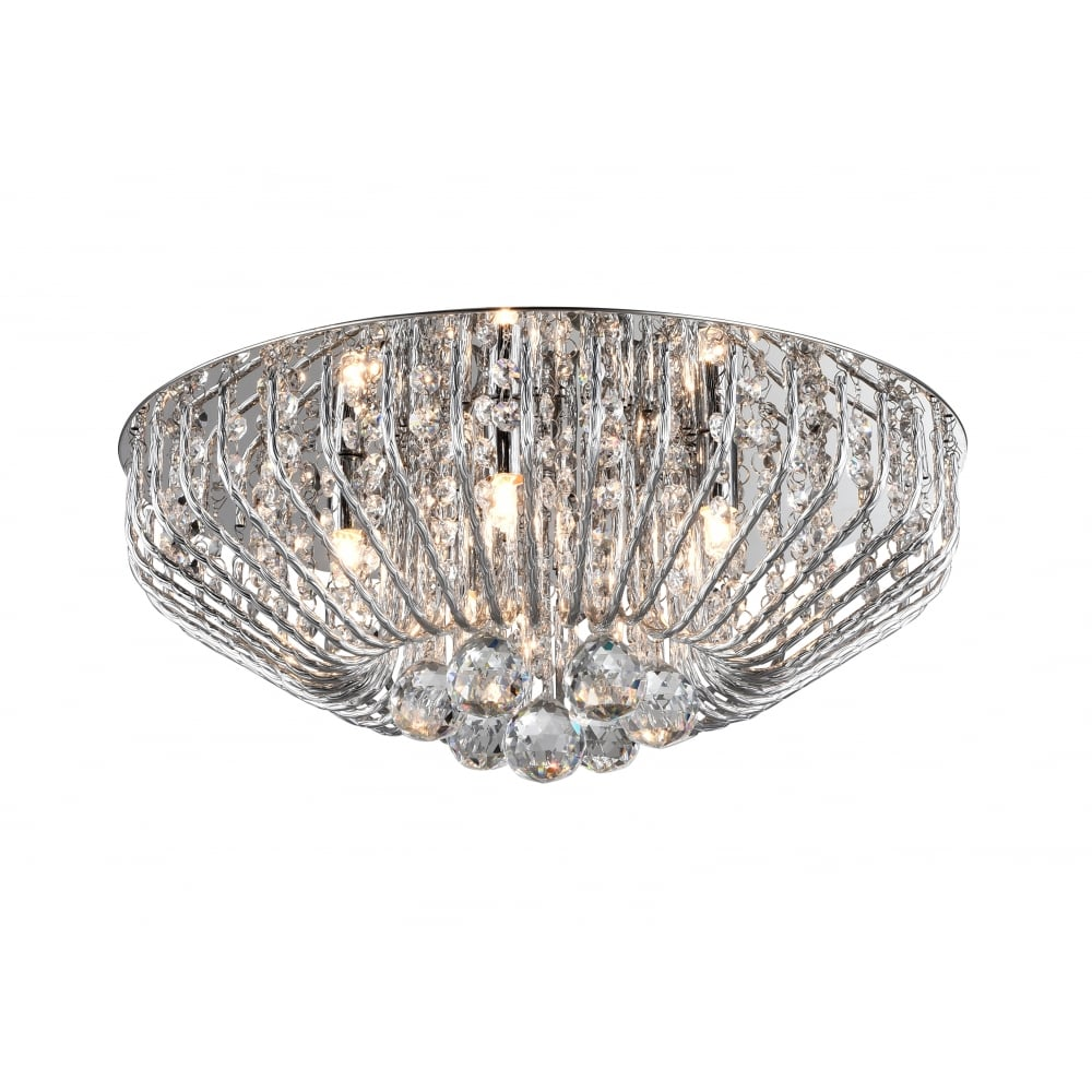 Impex lighting carlo stylish 5 light crystal flush ceiling light in carlo stylish 5 light crystal flush ceiling light in chrome finish cfh50805205pl aloadofball Image collections