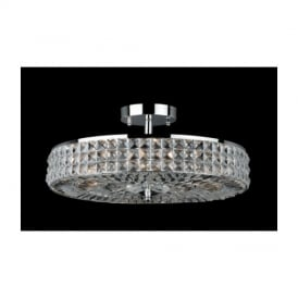 CF09036/6/SF/CH Chrome Semi Flush Crystal Ceiling Light