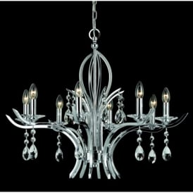 CF911231/8+4/CH Turin 12 Light Chrome & Crystal Chandelier
