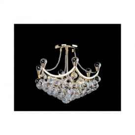 CH29315/3/G Ancona Gold Semi Flush Crystal Ceiling Light