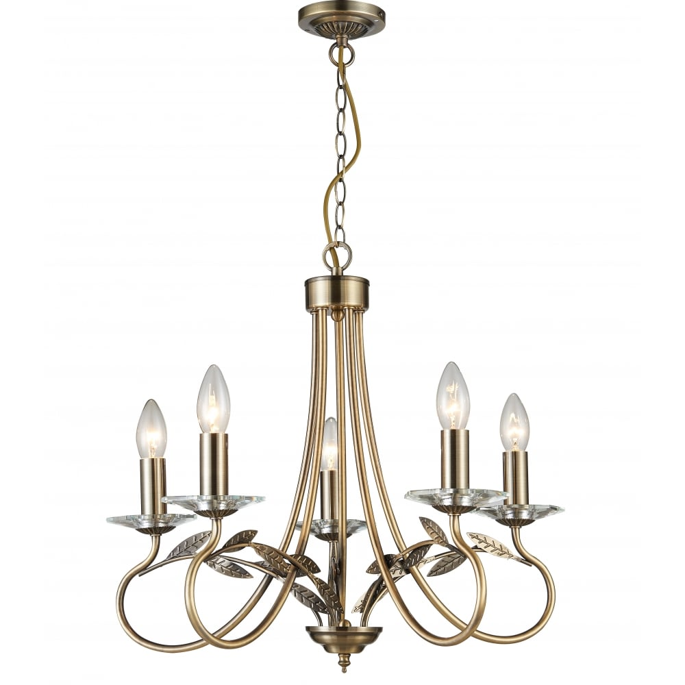 Evon 5 Light Ceiling Chandelier In Antique Brass With Crystal Scones Cf1707 05 Ab