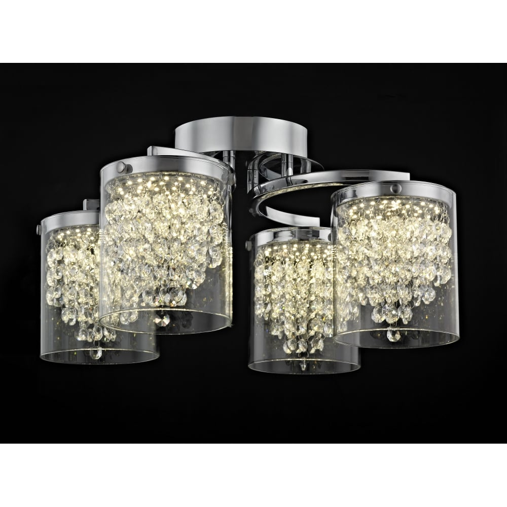 Impex lighting florina 4 light led crystal flush ceiling light in florina 4 light led crystal flush ceiling light in chrome finish led60824204pl aloadofball Image collections
