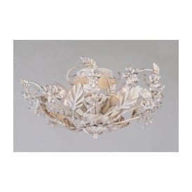 SF05305/AW Antique White Flush Crystal & Metal Ceiling Light