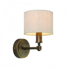 Indara Single Wall Light In Hammered Bronze Effect Plate With Natural Linen Shade 71346