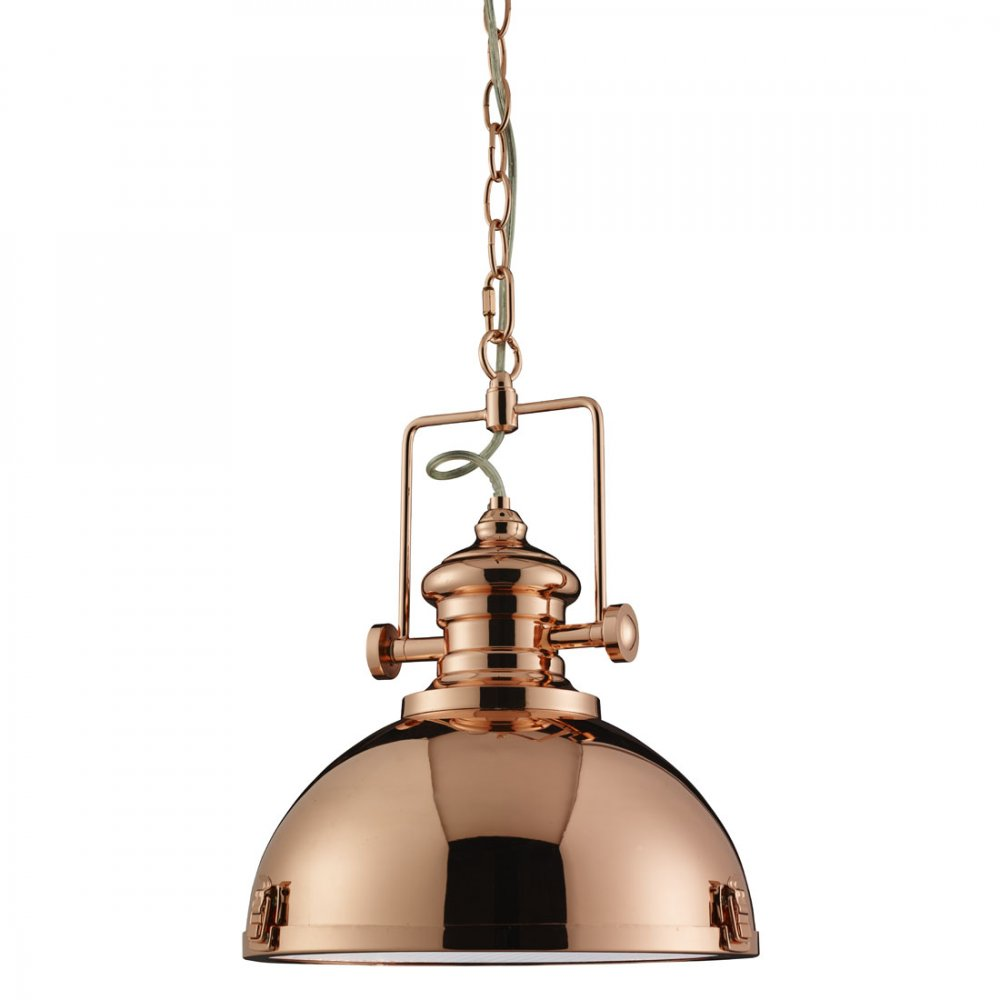 Searchlight industrial polished copper pendant ceiling for Industrial bulb pendant