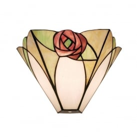 Ingram Tiffany Single Wall Light With Art Deco Rose 64186