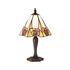 Ingram Tiffany Small Table Lamp With Art Deco Rose 64185