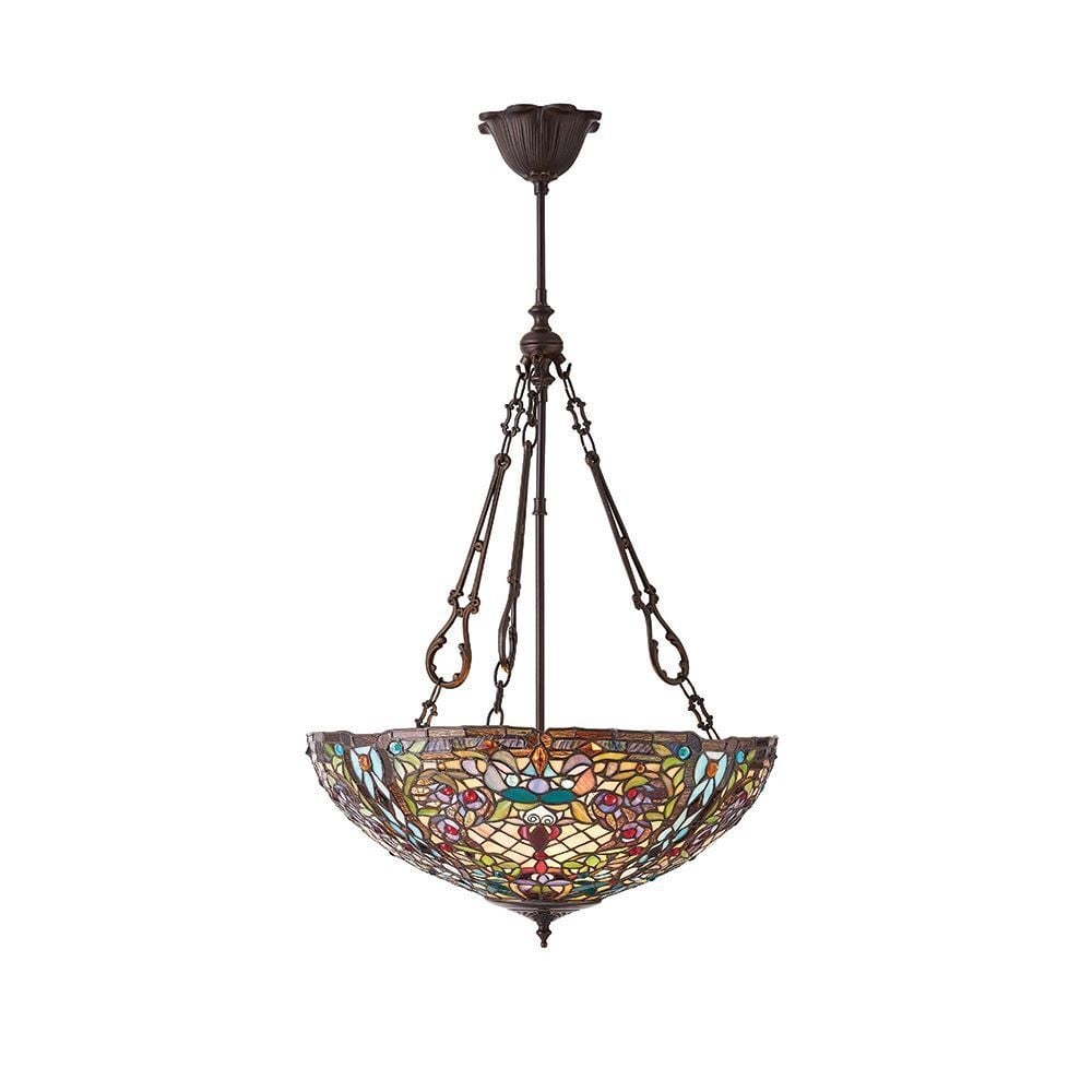 Anderson Tiffany Large Inverted Ceiling Pendant With Detailed Glass 70744