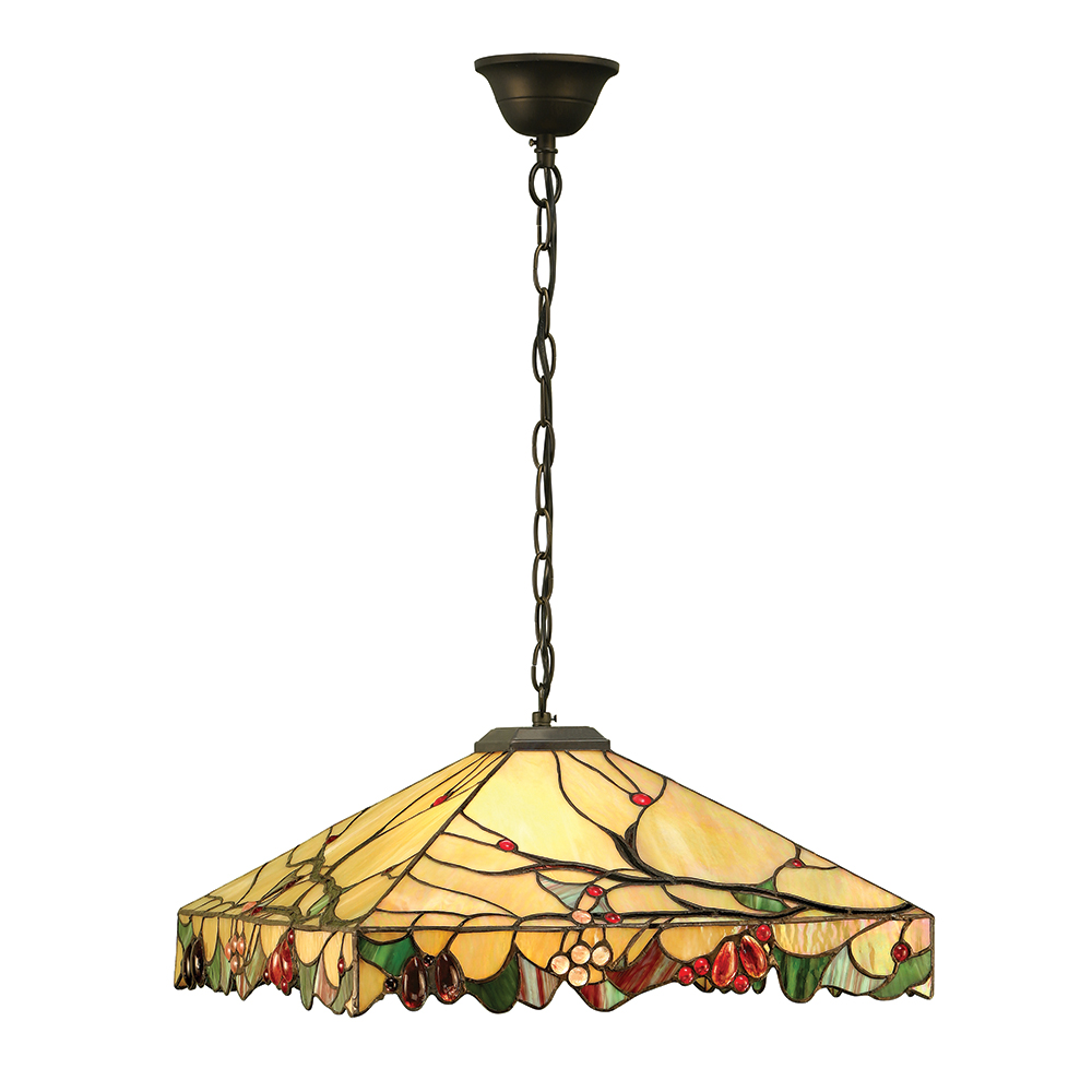 Arbois Tiffany Medium Ceiling Pendant With Veined Art Glass Beads 63907