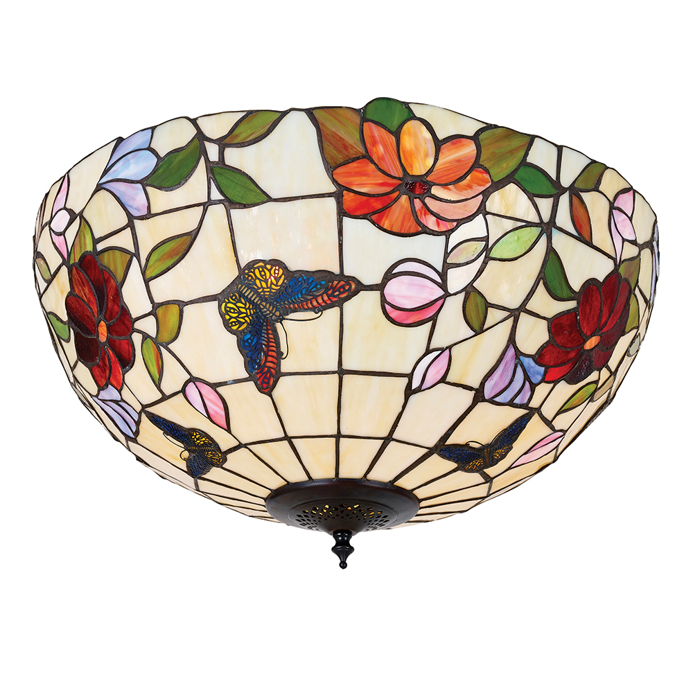 Interiors 1900 butterfly tiffany large flush ceiling light with butterfly tiffany large flush ceiling light with flowers and butterflies 70715 aloadofball Choice Image