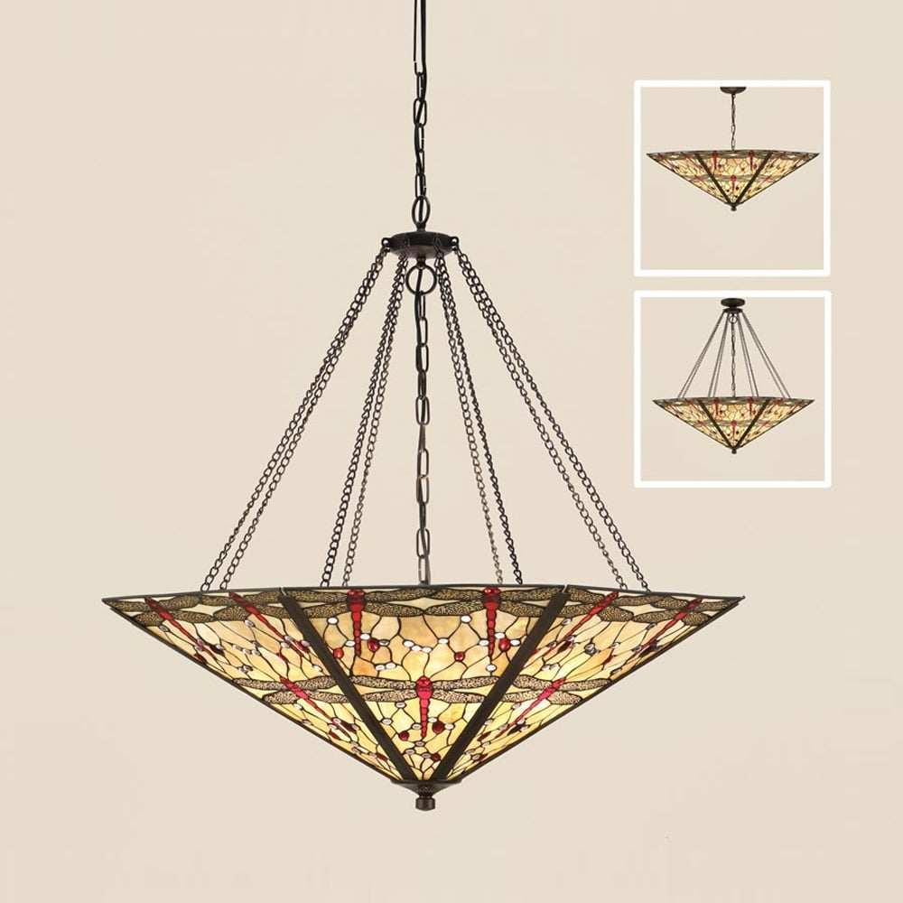 Dragonfly Tiffany Mega Panel Ceiling Pendant With Beige Coloured Shade 64077