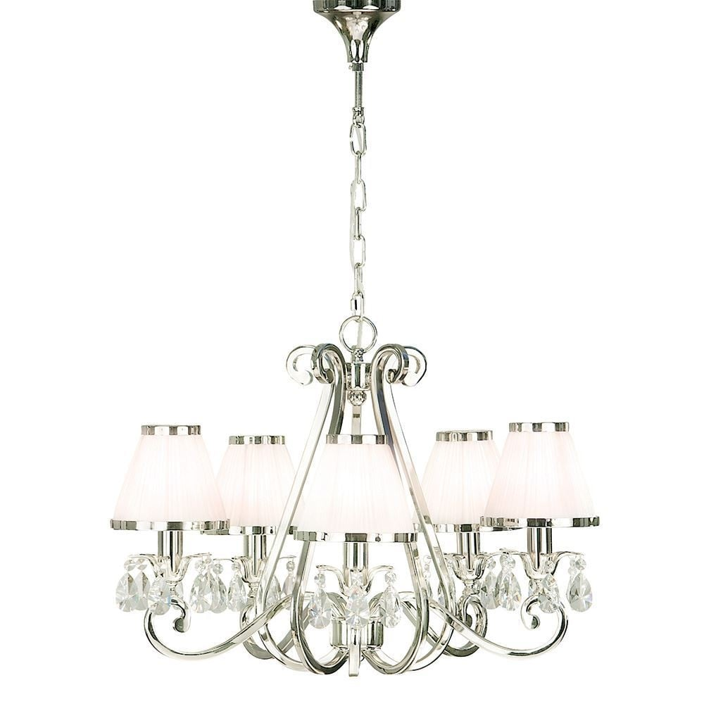 Oksana Stylish 5 Light Crystal Chandelier In Polished Nickel Finish With White Shades 63515