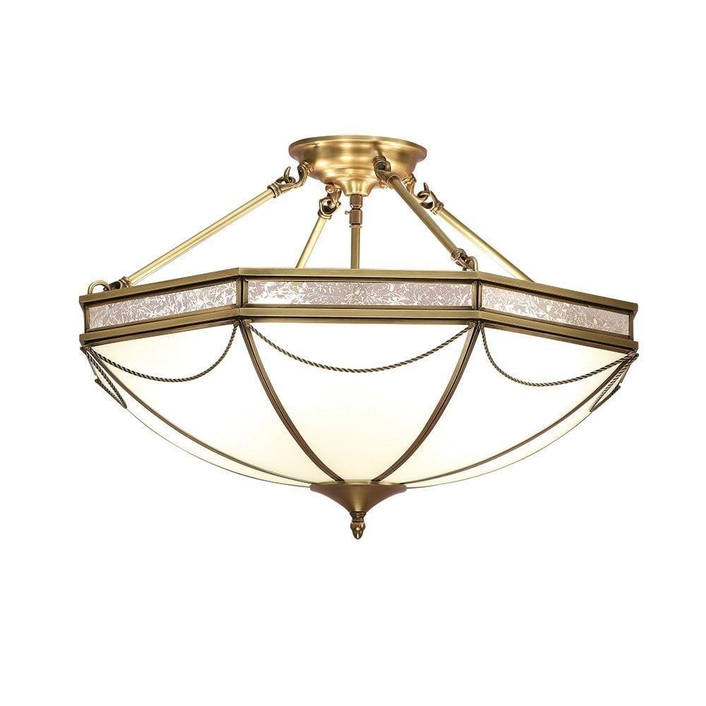 Interiors 1900 russell stylish 3 light semi flush ceiling light in russell stylish 3 light semi flush ceiling light in antique brass finish sn01p43 aloadofball Gallery
