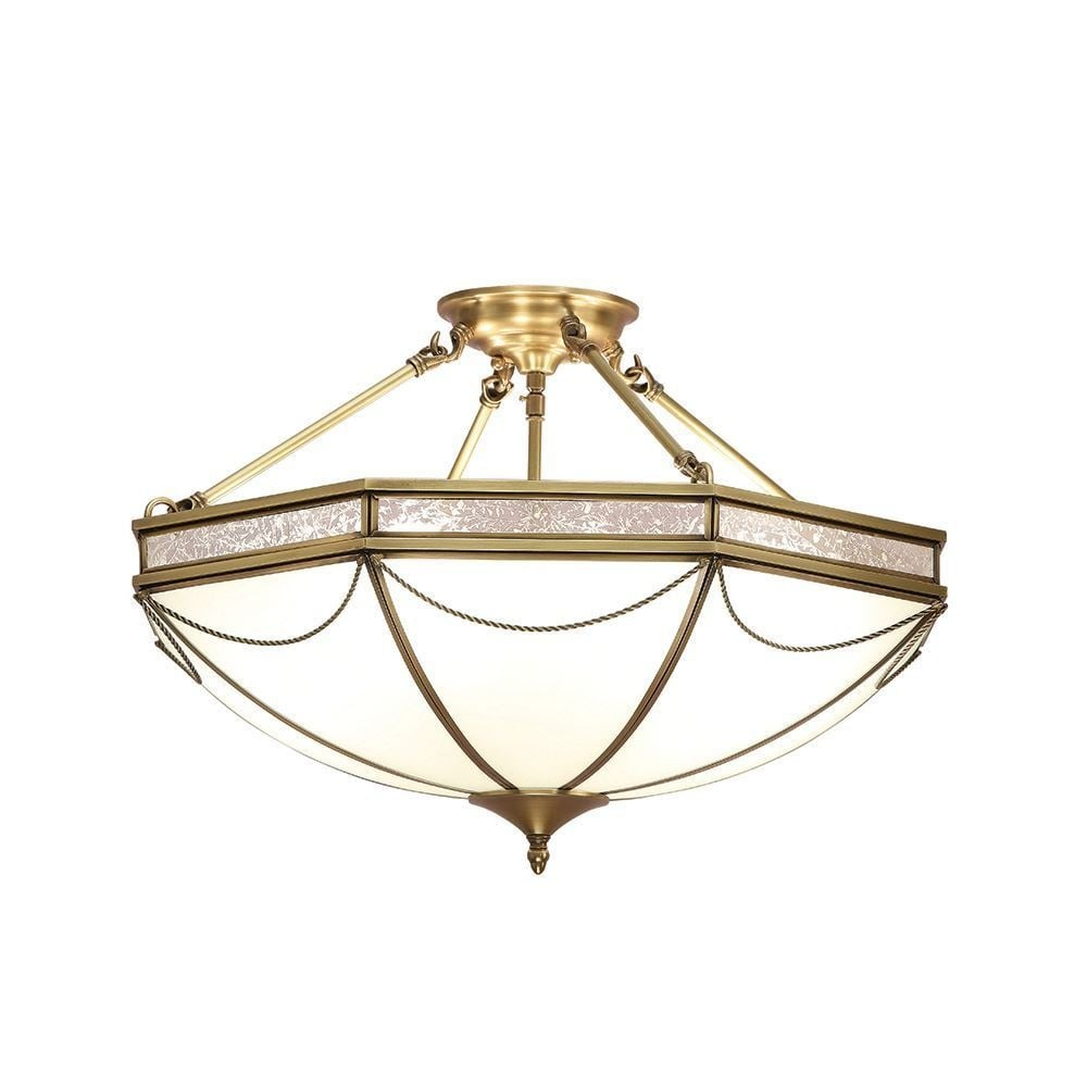 Interiors 1900 russell stylish 8 light semi flush ceiling light in russell stylish 8 light semi flush ceiling light in antique brass finish sn01p63 mozeypictures Images