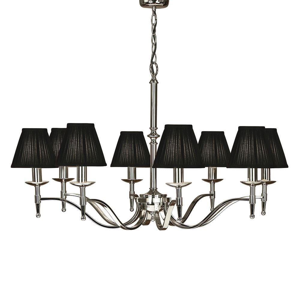 Stanford Elegant 8 Light Chandelier In Polished Nickel With Black Shades 63642