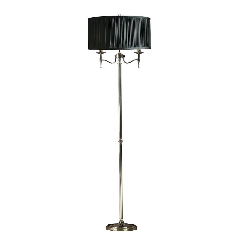 Interiors 1900 stanford elegant floor lamp in polished nickel with stanford elegant floor lamp in polished nickel with black shades 63624 aloadofball Choice Image