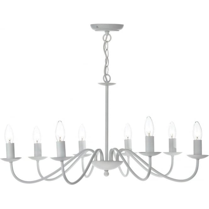 Dar Lighting IRW0802 Irwin Traditional 8 Light White Finish Ceiling Pendant