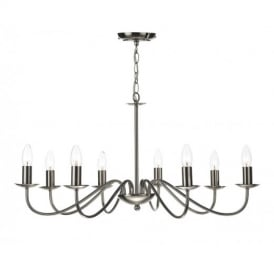 IRW0846 Irwin Traditional 8 Light Satin Chrome Finish Ceiling Pendant