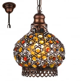 Jadida Ceiling Pendant Light In Antique Copper Finish With Glass Decoration 49763