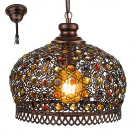 Jadida Ceiling Pendant Light In Antique Copper Finish With Glass Decoration 49764
