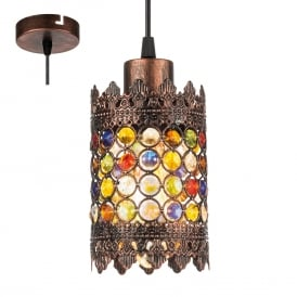 Jadida Ceiling Pendant Light In Antique Copper Finish With Glass Decoration 49766