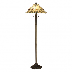 Jamelia Classic Tiffany 2 Light Floor Lamp With Amber Glass Beads 64192