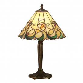 Jamelia Tiffany Small Table Lamp With Amber Glass Beads 64195