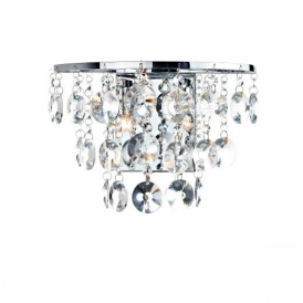 JES0950 Jester 2 Light Chrome Wall Light with Clear Droppers