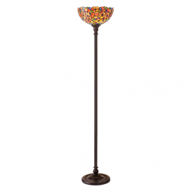 Josette Tiffany Floor Uplighter With Flowers In Oranges And Yellows 64208