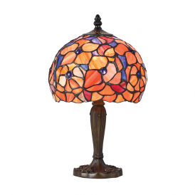 Josette Tiffany Small Table Lamp With Flowers In Oranges And Yellows 64210