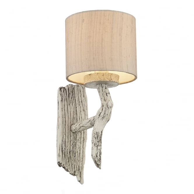 David Hunt lighting Joshua Wooden Wall Light With Taupe Silk Shade JOS0733