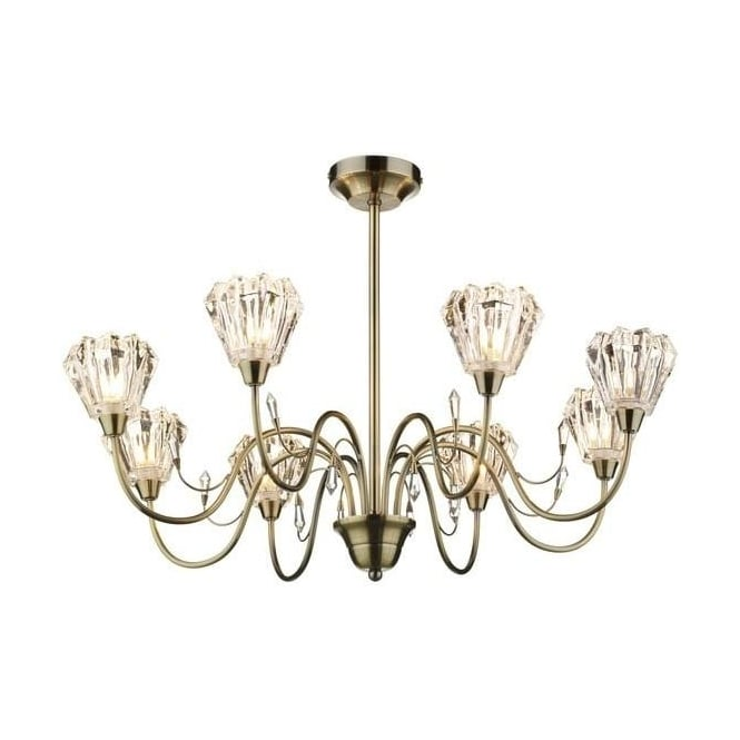 Dar Lighting JUN0875 Juno 8 Light Antique Brass Semi-Flush Ceiling Light
