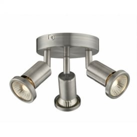 Jupiter Modern Brushed Chrome 3 Way Plate Spotlight