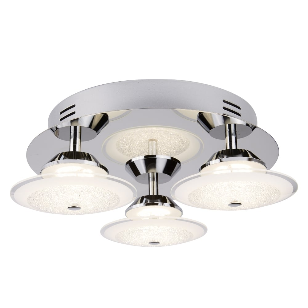 Searchlight kara modern led 3 light flush ceiling fitting with crushed ice effect 3743 3cc