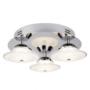 Kara Modern LED 3 Light Flush Ceiling Fitting With Crushed Ice Effect 3743 3CC