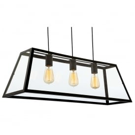 Kew Vintage 3 Light Breakfast Bar Ceiling Light In Black Finish 3438BL