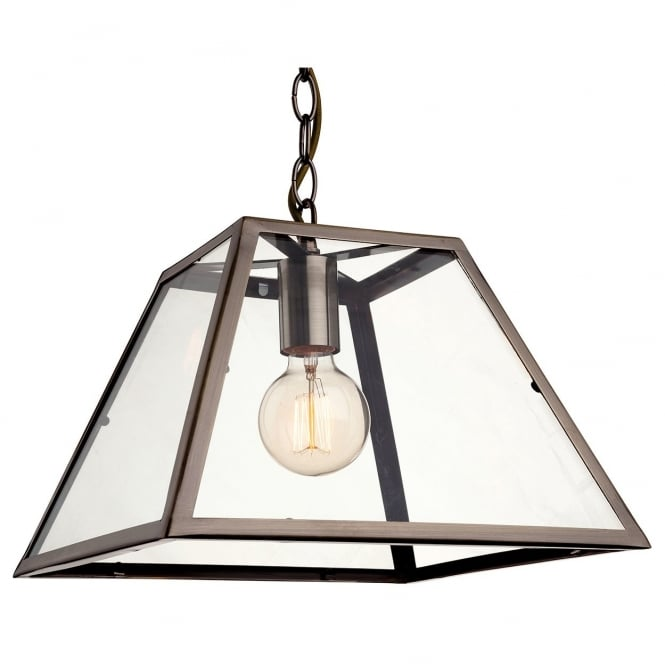 Firstlight Kew Vintage Ceiling Pendant Light In Antique Brass Finish With Glass 3439AB