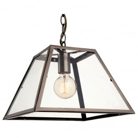 Kew Vintage Ceiling Pendant Light In Antique Brass Finish With Glass 3439AB