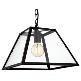 Kew Vintage Ceiling Pendant Light In Black Finish With Glass Panels 3439BL