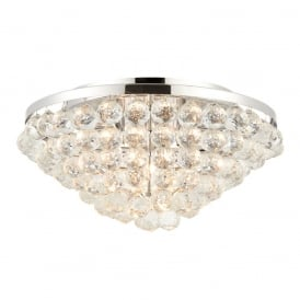 Kiera Crystal Flush Ceiling Light In Polished Chrome Finish 67019