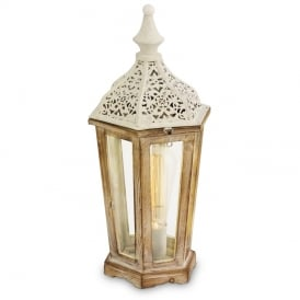 Kinghorn Wooden Table Lantern In Patina White Finish 49278