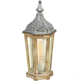 Kinghorn Wooden Table Lantern In Silver Finish 49277