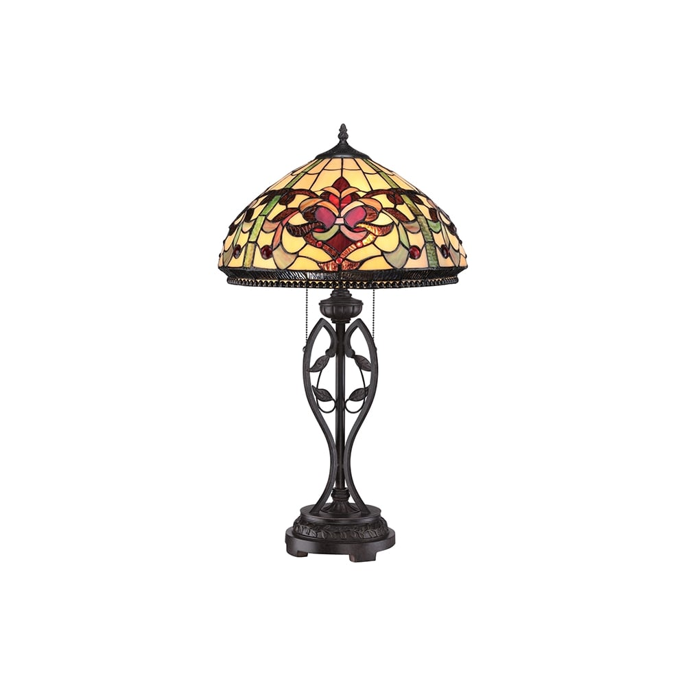 Quoizel Kings Pointe Tiffany Table Lamp In Imperial Bronze Finish Qz