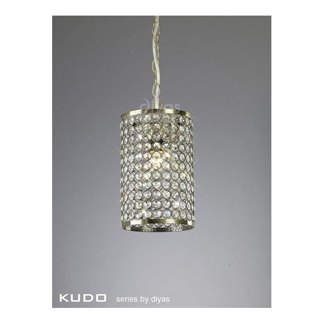 Diyas Lighting Kudo Cylinder Crystal Shade in Antique Brass with Suspension
