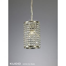 Kudo Cylinder Crystal Shade in Antique Brass with Suspension