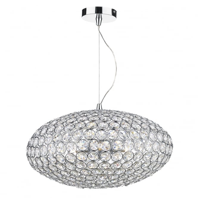 Dar Lighting Kyrie Crystal Ceiling Pendant Light In Polished Chrome Finish KYR0350