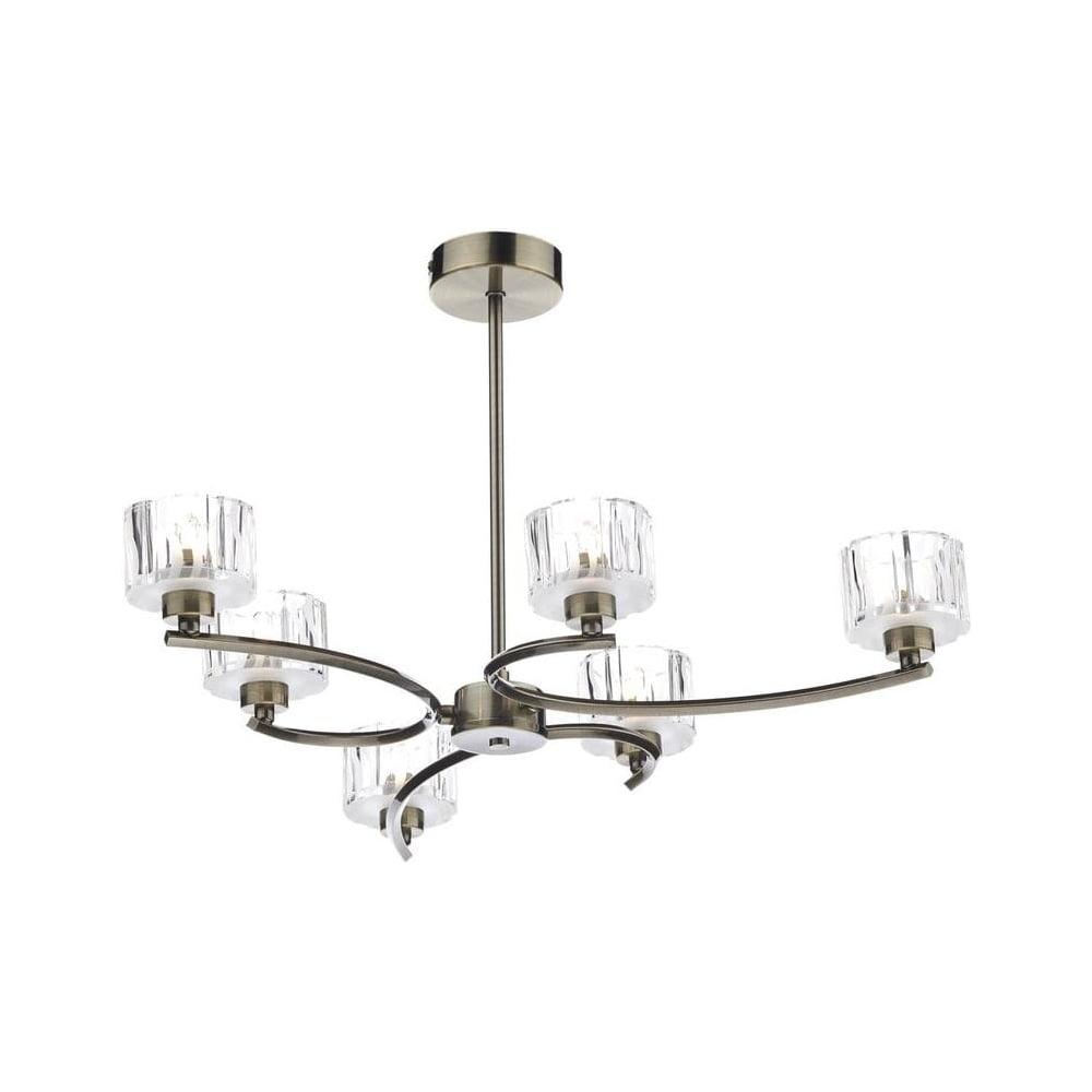 Dar Lighting LAG0675 Laguna 6 Light Modern Antique Brass And Crystal Semi Flu