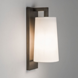 Lago 280 Bronze Wall Light with White Shade 7086 + 4076